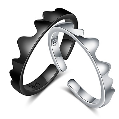 voordelige Dames Sieraden-Voor Stel Ringen voor stelletjes Ring 1pc Zwart Zilver Koper Cirkelvormig Standaard Koreaans Modieus Lahja Belofte Sieraden Golf