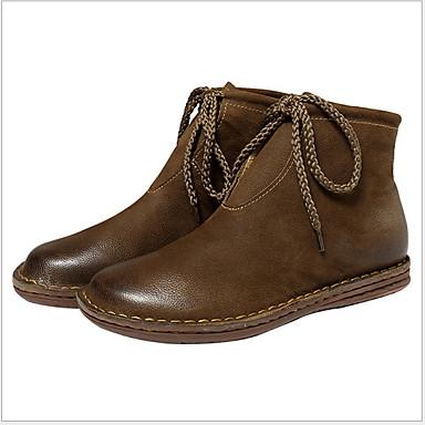 voordelige Dameslaarzen-Dames Laarzen Platte hak Ronde Teen Leer Korte laarsjes / Enkellaarsjes Herfst winter Zwart / Bruin / Khaki