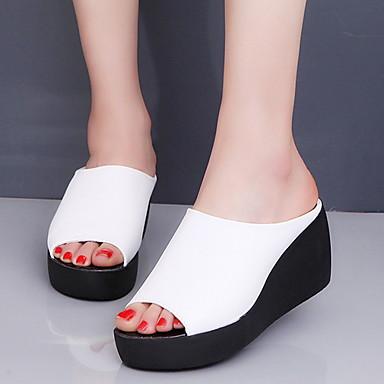 voordelige Damespantoffels & slippers-Dames Slippers & Flip-Flops Platte hak Ronde Teen PU Zomer Zwart / Wit