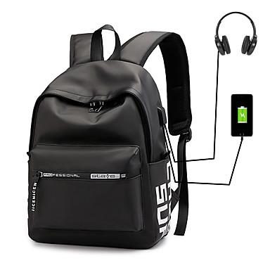 お買い得  バッグ-大容量 ナイロン 特殊材料 ジッパー バックパック カラーブロック 日常 ブラック / グレー