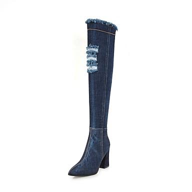 voordelige Dameslaarzen-Dames Laarzen Blokhak Gepuntte Teen Denim Over de knie laarzen Vintage Herfst winter Zwart / Lichtblauw / Donkerblauw