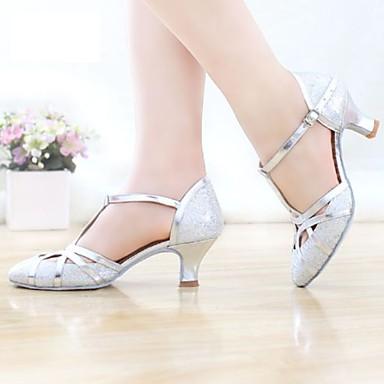 billige Ballroom-sko og moderne dansesko-Dame Dansesko Sateng Moderne sko Høye hæler Kubansk hæl Kan spesialtilpasses Svart / Gull / Sølv / Ytelse