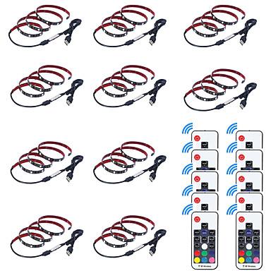 billige LED Strip Lamper-0,5m usb fleksible led lysstrimler / rgb stripelys / fjernkontroller 15 lysdioder smd5050 17-tasters fjernkontroll multi farge vanntett / usb / party 5 v 10stk