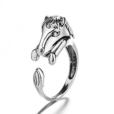 billige Motering-Herre Dame Ring 1pc Sølv Kobber Sirkelformet Vintage Grunnleggende Mote Festival Smykker Hest Hestehode Dyr Kul Smuk