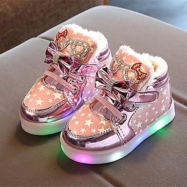 baratos LED Sapatos-Para Meninas Couro Ecológico Tênis Little Kids (4-7 anos) / Big Kids (7 anos +) Tênis com LED Caminhada Flor / LED Dourado / Rosa claro / Prateado Primavera / Verão