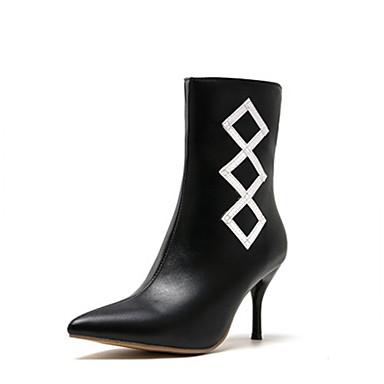 voordelige Dameslaarzen-Dames Laarzen Naaldhak Gepuntte Teen PU Kuitlaarzen Herfst winter Zwart / Wit