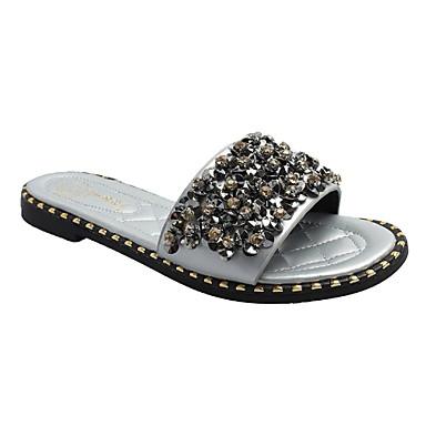 voordelige Damespantoffels & slippers-Dames Slippers & Flip-Flops Platte hak Ronde Teen PU Zomer Zwart / Zilver