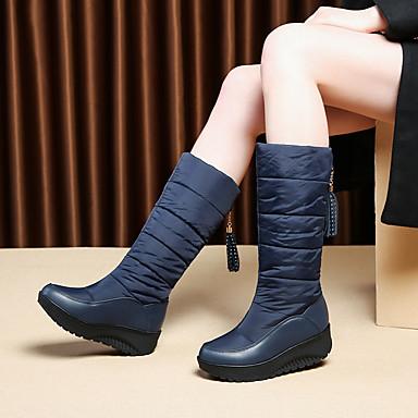 voordelige Dameslaarzen-Dames Laarzen Sleehak Ronde Teen Microvezel Winter Zwart / Bruin / Rood