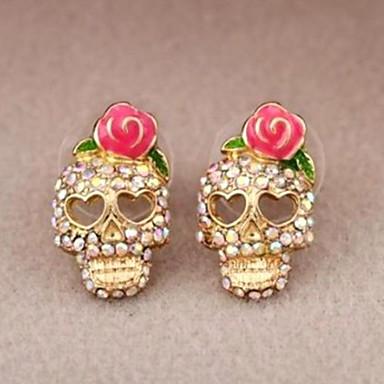 voordelige Dames Sieraden-Dames Oorknopjes Schedel modieus Gesimuleerde diamant oorbellen Sieraden Goud Voor Halloween 1 paar