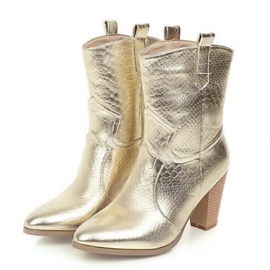 voordelige Dameslaarzen-Dames Laarzen Blokhak Gepuntte Teen PU Kuitlaarzen Vintage / Informeel Herfst winter Zwart / Goud / Zilver