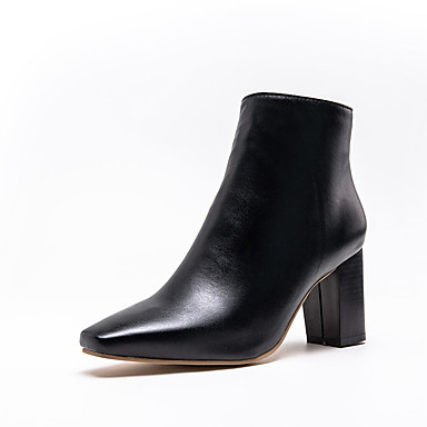 voordelige Dameslaarzen-Dames Laarzen Blokhak Vierkante Teen PU Korte laarsjes / Enkellaarsjes Informeel / minimalisme Winter Zwart / Wit