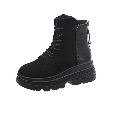 voordelige Dameslaarzen-Dames Laarzen Creepers Ronde Teen PU Kuitlaarzen Informeel Herfst Zwart