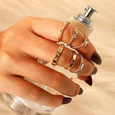 voordelige Dames Sieraden-Dames Ring Ring Set 6pcs Goud Strass Legering Vierkant Klassiek Vintage modieus Lahja Dagelijks Sieraden Klassiek Lucky