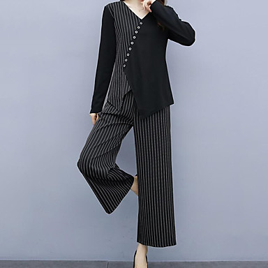 voordelige Nieuwe collectie-Dames Street chic Set Pantalon Gestreept