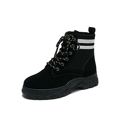 voordelige Dameslaarzen-Dames Laarzen Creepers Ronde Teen PU Kuitlaarzen Informeel Herfst Zwart / Donker Bruin