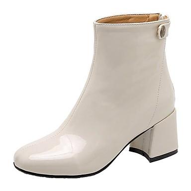 voordelige Dameslaarzen-Dames Laarzen Blokhak Ronde Teen Lakleer Korte laarsjes / Enkellaarsjes Informeel / minimalisme Winter Zwart / Amandel / Beige