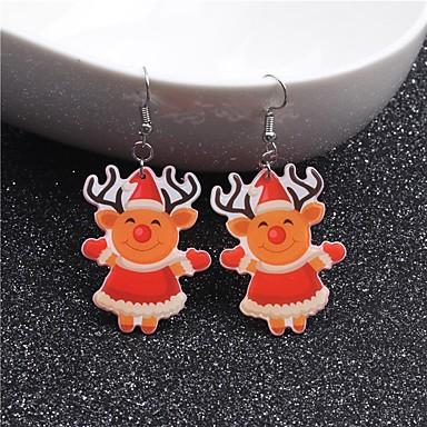 voordelige Dames Sieraden-Dames Druppel oorbellen Sculptuur Elk leuke Style oorbellen Sieraden Oranje Voor Kerstmis 1 paar
