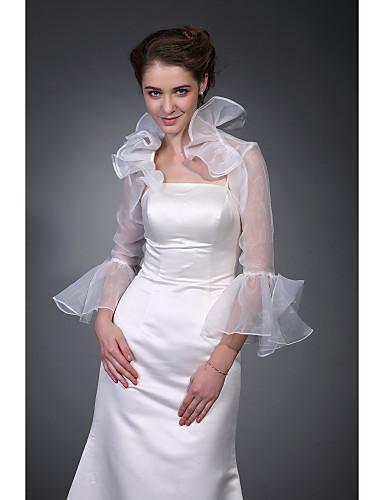 billige Brudesjaler-Halvlange ermer Polyester Fest / aften Bryllup Wraps / Sjal til kvinner Med Broderi Frakker / jakker