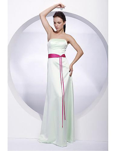 A tubino Senza bretelline Lungo Raso Vestito da damigella con Fascia / fiocco in vita di LAN TING BRIDE®