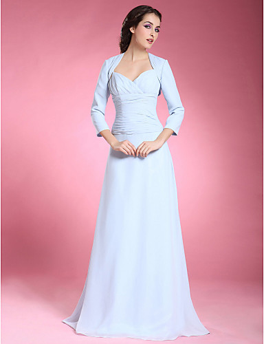 A-Line Spaghetti Straps Sweetheart Floor Length Chiffon Mother of the Bride Dress with Ruched Criss Cross by LAN TING BRIDE®