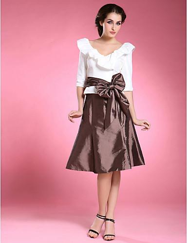 А-силуэт V-образный вырез До колена Тафта Платье для матери невесты с Бант(ы) Пояс / лента от LAN TING BRIDE®