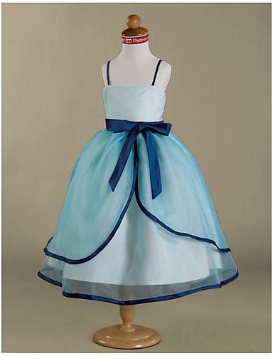 Ball Gown Tea Length Flower Girl Dress - Organza Satin Sleeveless Spaghetti Straps with Bow(s) Sash / Ribbon Ruffles by LAN TING BRIDE®
