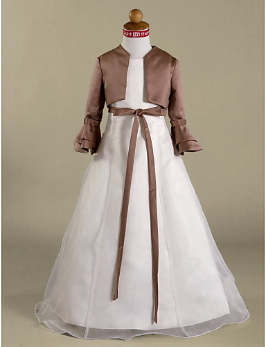 A-Şekilli Prenses Taşlı Yaka Yere Kadar Organze Saten Kurdeleler ile Çiçekçi Kız Elbisesi tarafından LAN TING BRIDE®