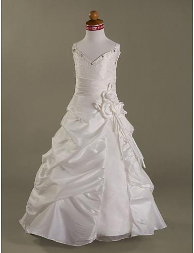 Γραμμή Α Μακρύ Φόρεμα για Κοριτσάκι Λουλουδιών - Οργάντζα Αμάνικο Λεπτές Τιράντες με Χάντρες με LAN TING BRIDE® / Άνοιξη / Φθινόπωρο / Χειμώνας / Πρώτη Κοινωνία / Γαμήλιο Πάρτι
