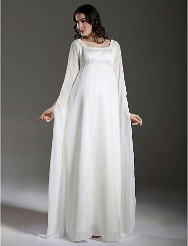 Ίσια Γραμμή Τετράγωνη Λαιμόκοψη Μακρύ Σιφόν / Σατέν Φορέματα γάμου φτιαγμένα στο μέτρο με Διακοσμητικά Επιράμματα με LAN TING BRIDE®