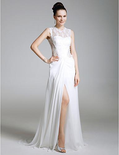 Tubinho Ilusão Decote Cauda Escova Chiffon Renda Evento Formal Vestido com Renda Fenda Frontal de TS Couture®
