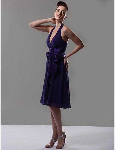 Γραμμή Α Λαιμόκοψη V / Δένει στο Λαιμό Μέχρι το γόνατο Σιφόν Φόρεμα Παρανύμφων με Φιόγκος(οι) / Ζώνη / Κορδέλα με LAN TING BRIDE®