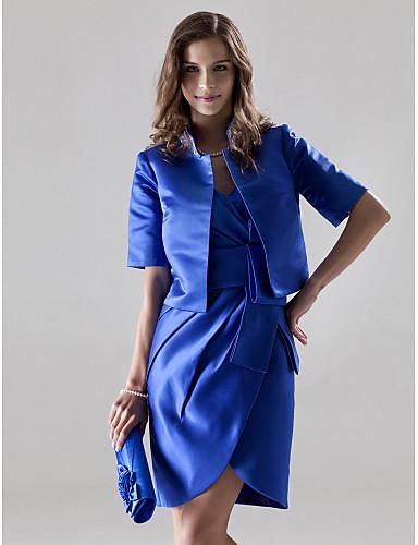 Pouzdrové Do V Krátký / Mini Satén Šaty pro družičky s Korálky / Mašle / Boční řasení podle LAN TING BRIDE® / Bolerko je v ceně