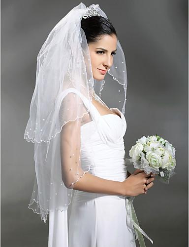 Véus de Noiva Duas Camadas Véu Cotovelo Véu para Cabelo Curto Borda Recortada Corte Pérola 37,4 cm (95 centímetros) Tule Branco Marfim