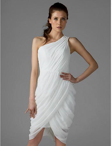 Eng anliegend Ein-Schulter Knie-Länge Chiffon Brautjungfernkleid mit Seitlich drapiert durch LAN TING BRIDE®