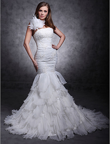 A sirena Monospalla Strascico di corte Organza Raso Vestito da sposa con Perline Con applique Floreale di LAN TING BRIDE®