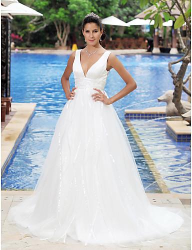 A-라인 공주 V 넥 코트 트레인 새틴 튤 웨딩 드레스 와 드레이핑 으로 LAN TING BRIDE®