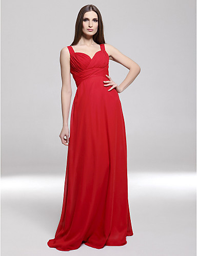 Sheath / Column Sweetheart Straps Floor Length Chiffon Formal Evening / Military Ball Dress with Criss Cross by TS Couture®