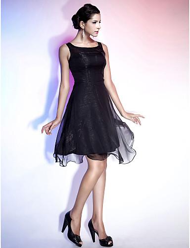 Γραμμή Α / Πριγκίπισσα / Εφαρμοστό & Εμβαζέ Λουριά Μέχρι το γόνατο Σιφόν Μικρό Μαύρο Φόρεμα Κοκτέιλ Πάρτι Φόρεμα με Που καλύπτει με TS Couture®