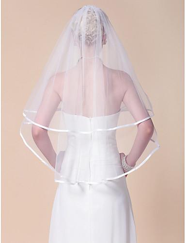 two-tier elleboog bruiloft sluier met lint rand