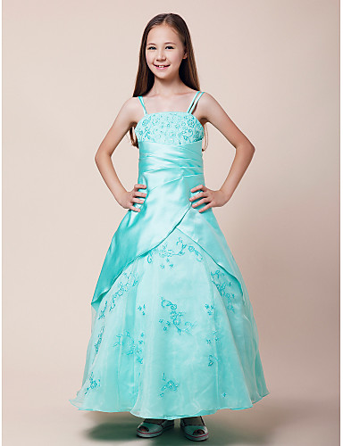Ball Gown Spaghetti Straps Floor Length Organza Satin Junior Bridesmaid Dress with Beading Embroidery Side Draping by LAN TING BRIDE®