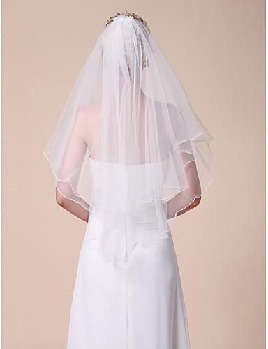 Δύο-βαθμίδων Μύτη Μολυβιού Πέπλα Γάμου Πέπλα ως τον αγκώνα Πέπλα για Κοντά Μαλλιά Με 31,5 ίντσες (80εκ) Τούλι Γραμμή Α, Τουαλέτα,