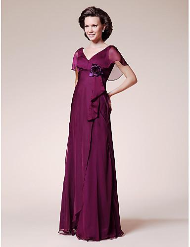 A-Şekilli V Yaka Yere Kadar Şifon Çiçekli Fırfırlı ile Gelin Annesi Elbisesi tarafından LAN TING BRIDE®