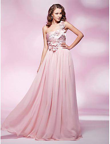 Sütun Tek Omuz Yere Kadar Şifon / Streç Saten Boncuklama / Çiçekli ile Resmi Akşam / Askeri Balo Elbise tarafından TS Couture®