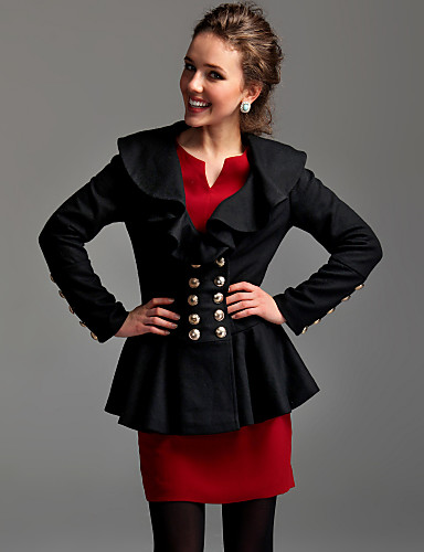 TS Ruffle Lapel Wool Blend Jacket