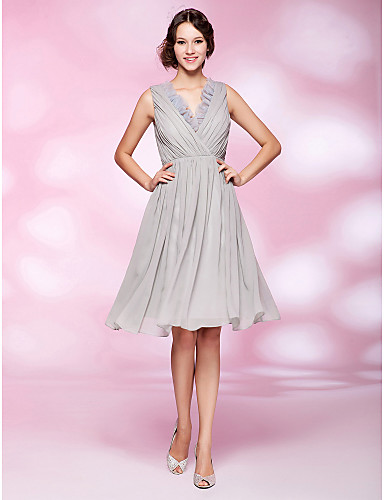 A-Line Princess V Neck Knee Length Chiffon Organza Cocktail Party / Homecoming Dress with Draping Ruffles Side Draping by TS Couture®