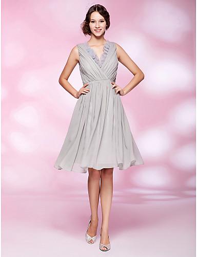 A-Linie Prinzessin V-Ausschnitt Knie-Länge Chiffon Organza Cocktailparty / Abschlussball Kleid mit Drapiert Rüschen Seitlich drapiert