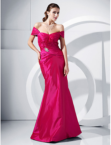 Mermaid / Trumpet Off Shoulder Floor Length Taffeta Formal Evening / Military Ball Dress with Ruched Side Draping by TS Couture®