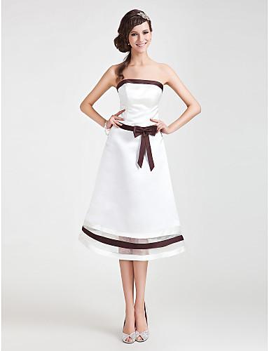 A-Linie Princess Bez ramínek K lýtkům Organza Satén Šaty pro družičky s Mašle Šerpa / Stuha podle LAN TING BRIDE®