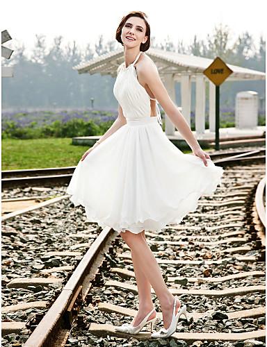 Trapèze Princesse Licou Mi-long Mousseline de soie Robes de mariée personnalisées avec Billes Drapée Ceinture / Ruban par LAN TING BRIDE®
