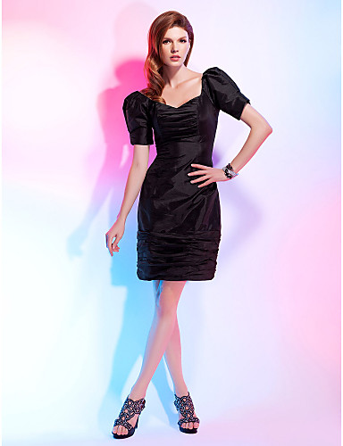 Sheath / Column V Neck Knee Length Taffeta Cocktail Party Dress with Ruched by TS Couture®